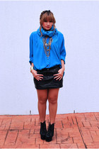 blue vintage blouse - black Jeffrey Campbell boots