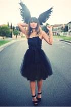 black vintage from Ebay skirt - black Forelle top - black Sportsgirl wedges