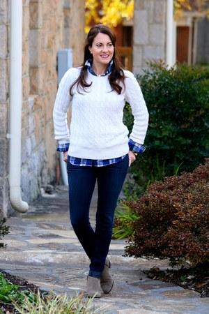 navy plaid blouse J Crew Factory blouse