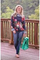 floral sweater Nordstrom sweater - green green backpack Vera Bradley bag