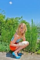 turquoise blue vintage shirt - carrot orange high-waisted Forever 21 shorts - tu