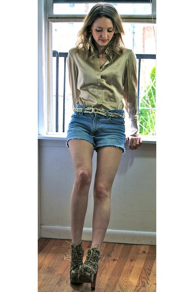 gold satin ann taylor shirt - light blue jean LEI shorts - gold vintage necklace