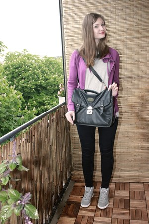 black vintage bag - navy Esprit jeans - heather gray asos shirt