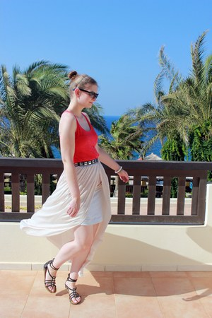 ivory Zara skirt - black asos sunglasses - black Primark belt