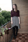 Forest-green-street-one-boots-crimson-vero-moda-shirt-white-monki-skirt