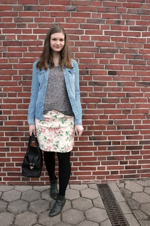 off white floral H&M skirt - forest green Street boots - black Hallhuber bag