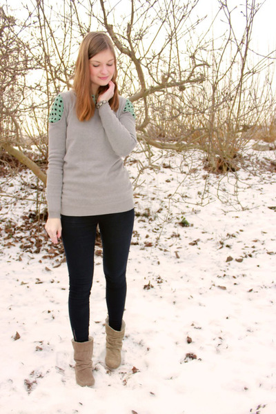 heather gray cut out asos jumper - camel görtz boots - navy skinny Esprit jeans