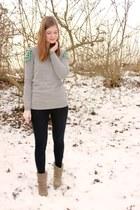 heather gray cut out asos jumper - camel görtz boots - navy skinny Esprit jeans