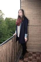 blue H&M blouse - dark green Street One boots - navy Primark coat
