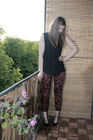 black Primark blouse - brick red H&M pants - black H&M flats