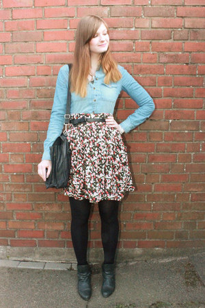 crimson floral skirt Hallhuber skirt - forest green Street One boots