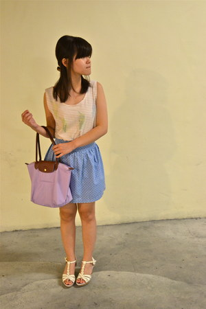 longchamp bag - cotton on skirt - thrifted vintage top - vinci wedges