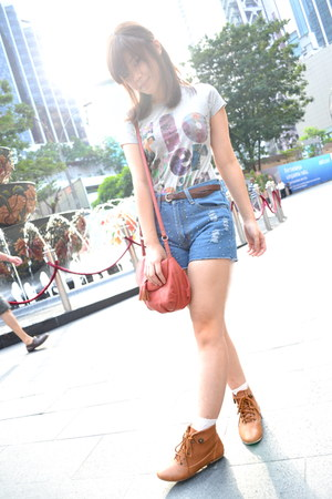 brown random from Hong Kong boots - maroon Mango bag - navy random brand shorts