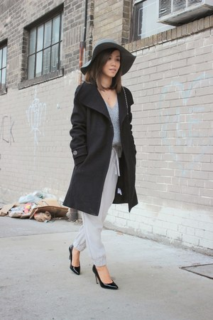 black wool coat Aritzia coat - Chanel bag - Aritzia pants