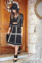 vintage skirt - leather jacket danier jacket - Nasty Gal shirt