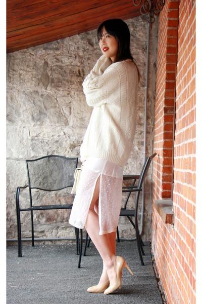 Ralph Lauren sweater - vintage dress - BCBG heels