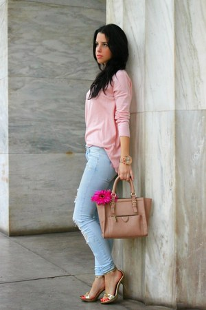 light pink Zara jeans - Zara sweater