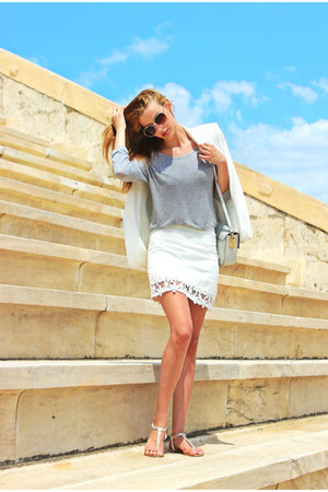 white Zara blazer - white Zara skirt