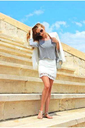 white Zara blazer - white Zara skirt