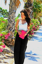 hot pink asos bag - off white Bershka top