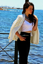 white Zara blazer - black Stradivarius skirt