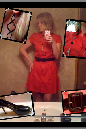 JCpenney dress - came with dress belt - Anne Klein shoes - evanitycom necklace -