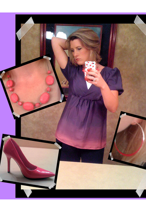 Daisy Fuentes blouse - blouse - evanitycom earrings - evanitycom necklace - ange