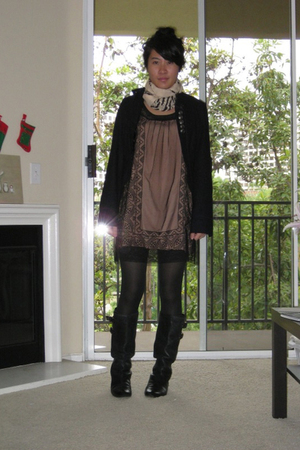coat - Urban Outfitters scarf - Kimchi&Blue dress - seychelles boots