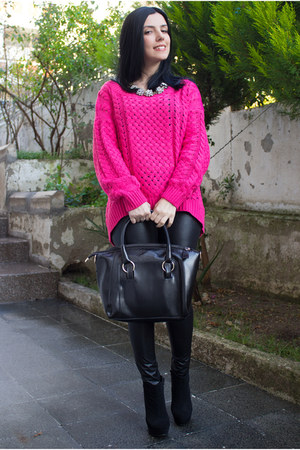 Sheinside sweater - sammydress bag - Rings & Tings necklace