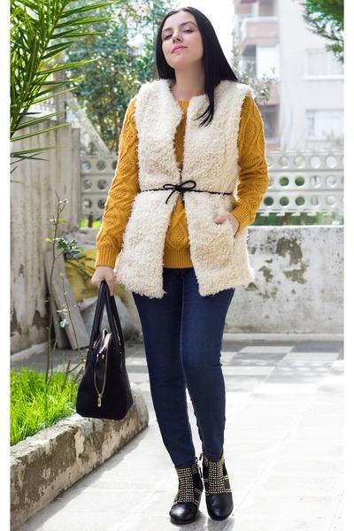 Sheinside vest - Choies boots - Sheinside coat - romwe sweater