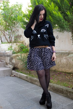 Sheinside skirt - romwe sweater - Daniel Wellington watch