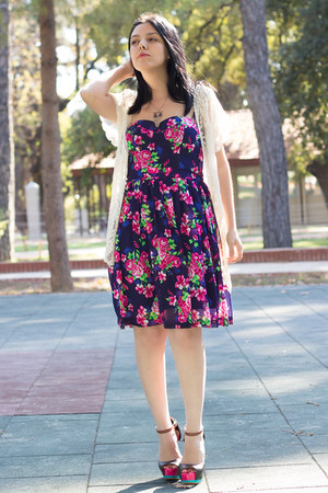 romwe cardigan - Mudo dress - romwe heels