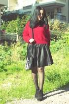 romwe tights - romwe jumper - Sheinside skirt