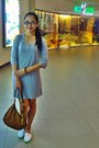 Aquamarine-gaucho-shoes-heather-gray-plain-dress-brown-studded-bag-bag