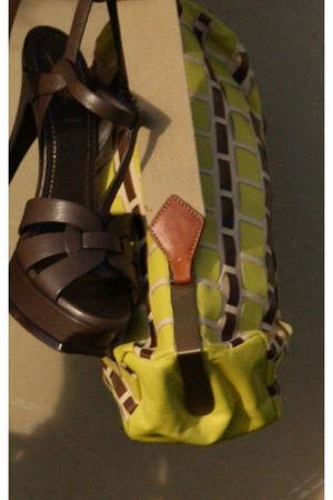 brown YSL shoes - gold Miu Miu wallet