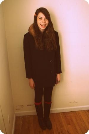 vintage coat - leggings - socks - vintage boots - vintage belt