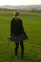 H&M scarf - Zara jacket - second-hand skirt - tights - boots