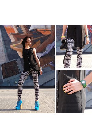 blue deezee shoes - white back  white Stradivarius leggings - black Zara bag