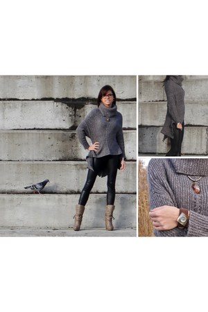 gray OASAP sweater - camel Mustang Shoes boots - black Tally Weijl leggings