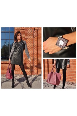 black Stradivarius dress - coral Parfois bag - black Zara heels