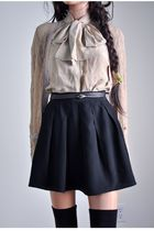 black skirt - beige blouse - beige