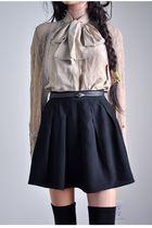 black skirt - beige blouse - beige