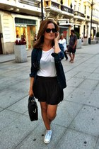 navy spicks Zara shirt - black Massimo Dutti bag - black Zara shorts