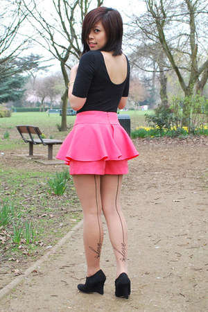 asos tights - Topshop bodysuit - unknown brand skirt - pretty-small-shoes wedges