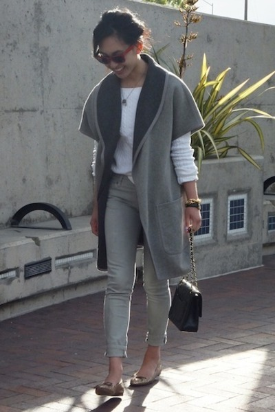 stuart weitzman flats - trouve coat - jordache jeans - Gap sweater - Chanel bag