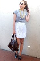 Aldo flats - BCBG dress - Tommy Hilfiger shirt - dooney & burke bag