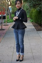 H&M top - Guess jeans - BCBG sweater - nicole miller heels