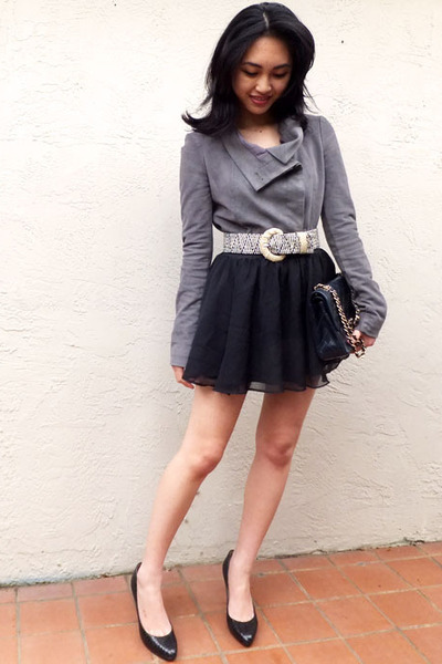BCBG jacket - Chanel bag - Jimmy Choo heels - H&M skirt - Anthropologie belt