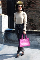 Salvatore Ferragamo bag - Macys sweater - Ray Ban sunglasses