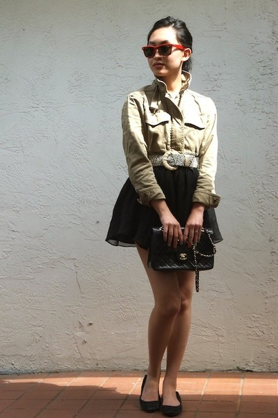 JCrew jacket - Chanel bag - H&M skirt - Lela Rose flats - Anthropologie belt
